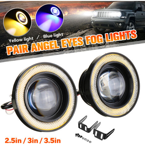 Phares antibrouillard de voiture 30W Ampoules LED Projecteur de lampe halo Angel Eyes (jaune, 2,5 pouces)