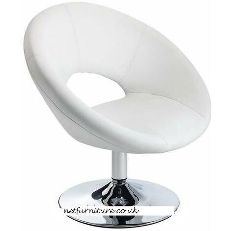Pharoh White Chair Funky Modern Design Padded, Chrome Swivel Seat White