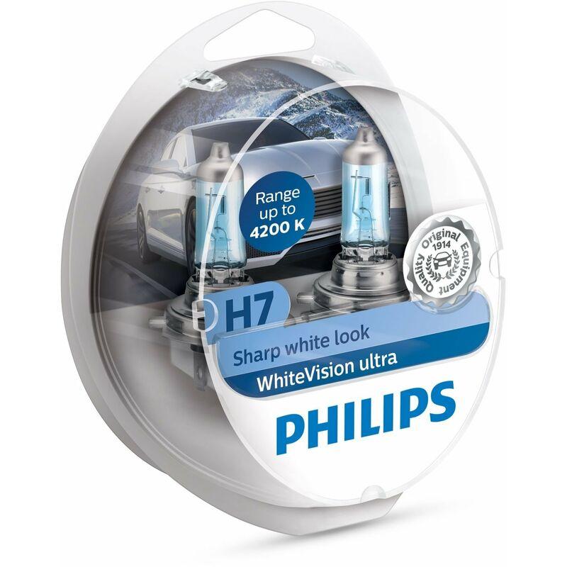 12972WVUSM WHITEVISION ULTRA EFFET XÉNON H7 POUR ÉCLAIRAGE AVANT, 4.200K, BLISTER DE 2, SET DE 2 - Philips