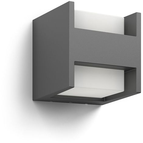 PHILIPS 164599316 ARBOUR APPLIQUE EN PLASTIQUE 2 X 4,5 W 230 V ANTHRACITE 136 MM X 136 MM X 141 MM