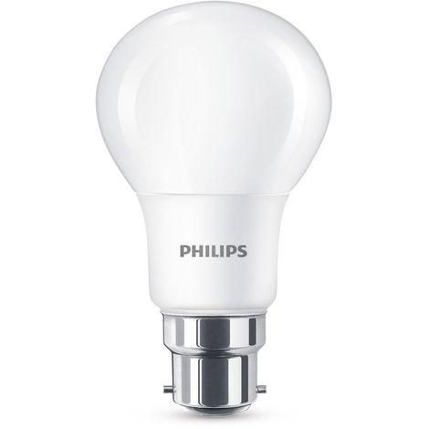 PHILIPS AMPOULE LED 8W (60W) CULOT À BAÏONNETTE B22BLANC CHAUD, GIVRÉ,, B22, 8WATTS