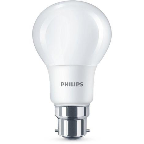 PHILIPS AMPOULE LED 8W (60W) CULOT À BAÏONNETTE B22BLANC CHAUD, GIVRÉ-LOT DE 2,, B22, 8W, LOT DE 2