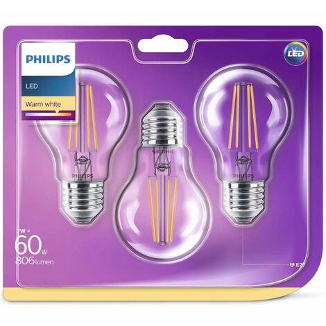 Philips Bombillas LED 3 unidades Classic 7 W 806 lúmenes 929001387373