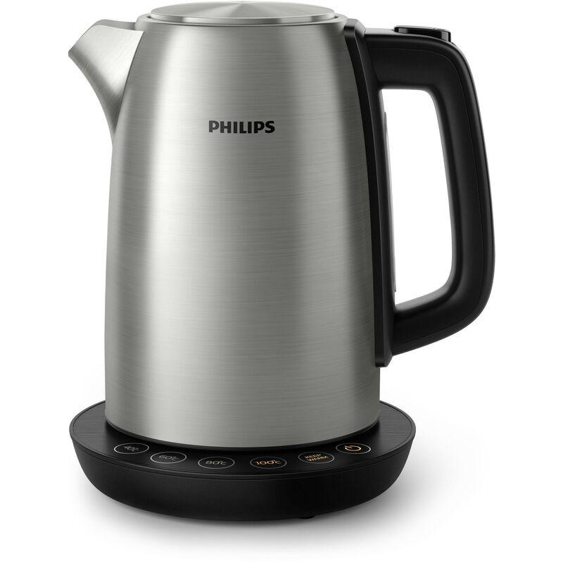 Philips Bouilloire Avance Collection HD9359/90 - Bouilloire avec contrôle de la température, en métal, 1,7 litre, avec couvercle à ressort.