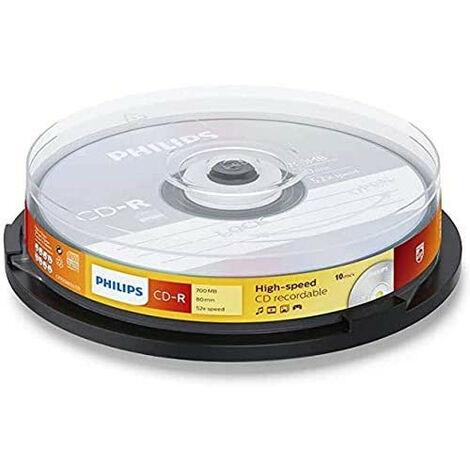 Philips CD-R 52x, 10 pièces en cake box (CR7D5NB10/00)
