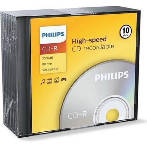 Philips CD-R 80 52x, 10 pièces en slimcase (CR7D5NS10/00)