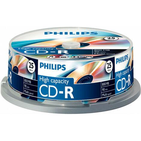 Philips CD-R 90mn 800Mo, 48x, 25 pièces en cake box (CR8D8NB25/00)