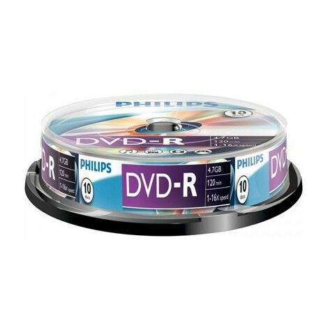 Philips DVD-R 16x, 10 pièces en Cakebox (DM4S6B10F/00)