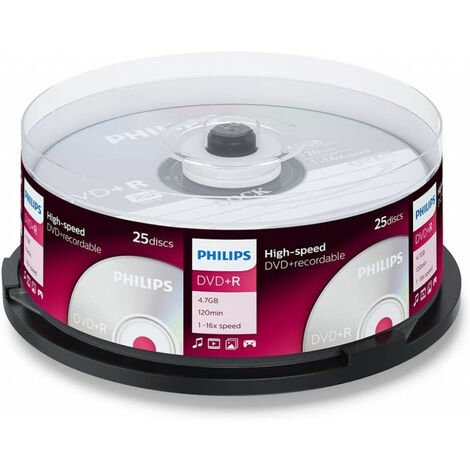 Philips DVD+R 16x, 25 pièces en cake box (DR4S6B25F/00)