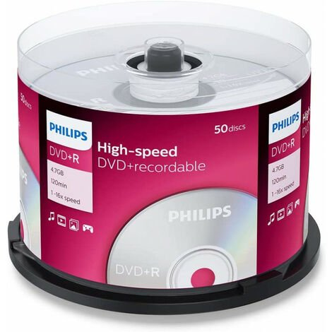 Philips DVD+R 16x, 50 pièces en cake box (DR4S6B50F/00)