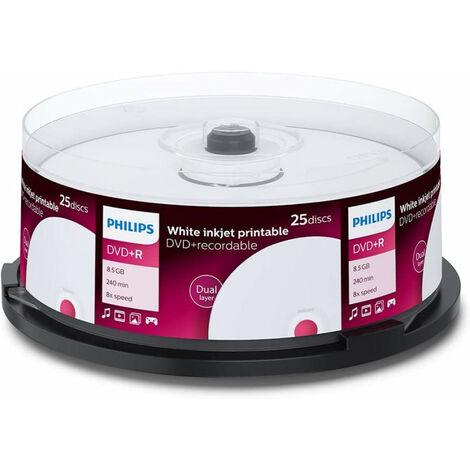 Philips DVD+R double couche imprimable 8.5 Go, 25 pièces en cake box (DR8I8B25F/00)