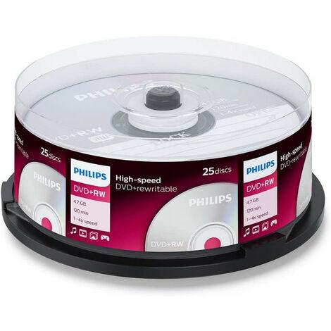 Philips DVD+RW 1-4x, 25 pièces en cake box (DW4S4B25F/00)