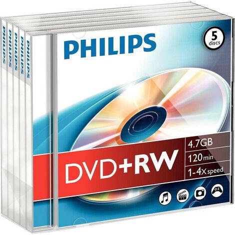 Philips DVD+RW 1-4x, 5 pièces en jewelcase (DW4S4J05F/10)