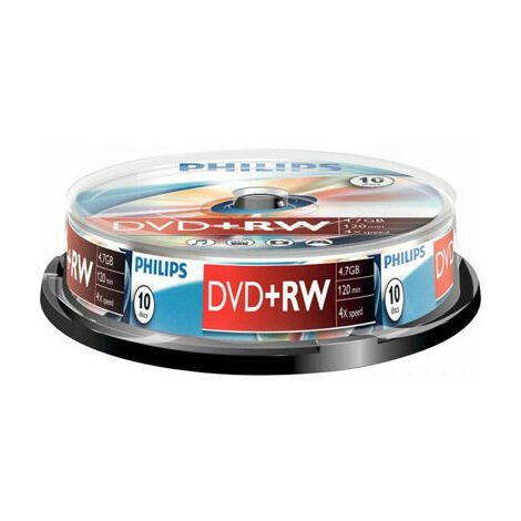 Philips DVD+RW 4x certifié, 10 pièces en cake box (DW4S4B10F/10)