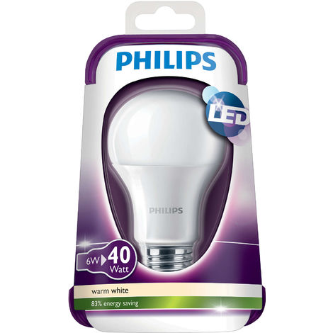 Philips Edison Screw Cap Frosted (E27) 6W LED GLS House Light Bulb Lamp (470lm)