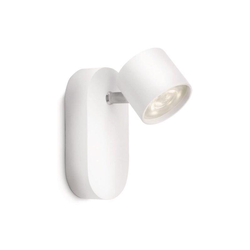 LM Spot singolo LED bianco alluminio Lighting myLiving Star spot LED da parete, Alluminio, Bianco [Classe di efficienza energetica A] - Philips