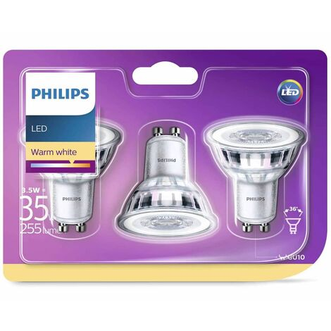 Philips Focos reflectores LED 3 uds Classic 3,5 W 255 lm 929001217886