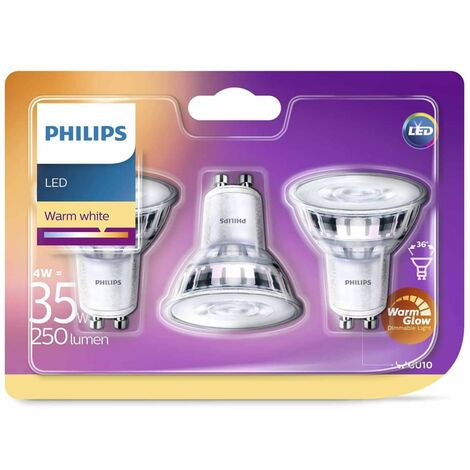 Philips Focos reflectores LED 3 uds Classic 4 W 250 lm 929001363886