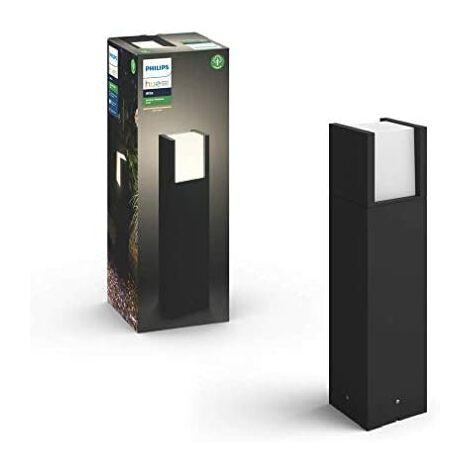 "main image of ""Philips Hue Fuzo Pedestal o sobremuro exterior negro LED inteligente, luz blanca cálida regulable, compatible con Amazon Alexa, Apple HomeKit y Google Assistant"""