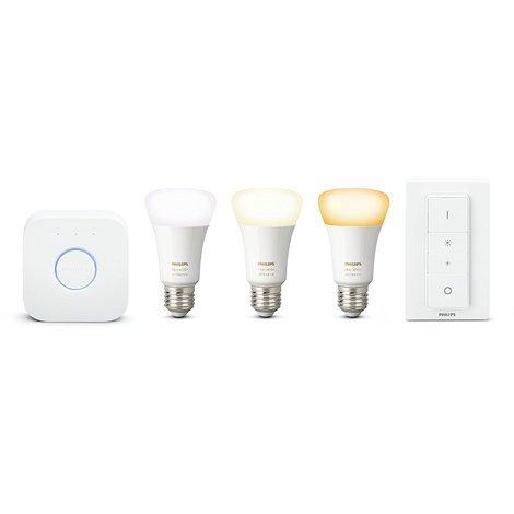 Philips Hue White Ambiance - Kit de 3 bombillas LED E27 con puente e interruptor, 9.5 W, iluminación inteligente, tonos de luz blanca cálida y fría regulable, compatible con Apple Homekit y Google Home