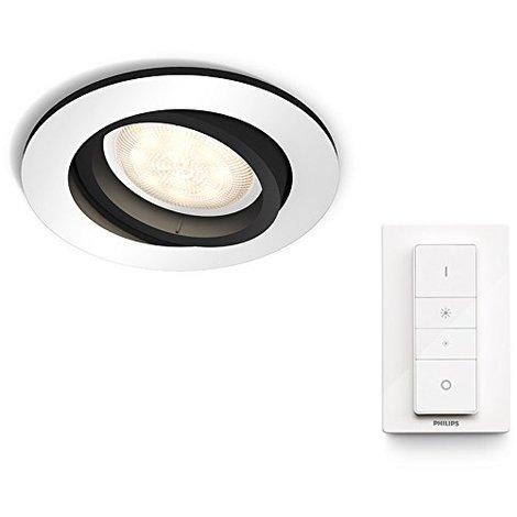 Philips Hue White Ambiance Milliskin Foco Empotrable Circular, 1 x 5.5W, Mando Incluido, Iluminación Inteligente LED, Intensidad y Temperatura Regulable, Compatible con Apple Homekit y Google Home GU10, 230 W, Aluminio