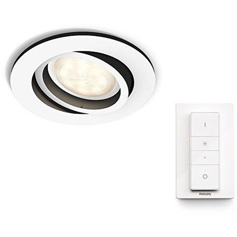 Philips Hue White Ambiance Milliskin Foco Empotrable Circular, 1 x 5.5W, Mando Incluido, Iluminación Inteligente LED, Intensidad y Temperatura Regulable, Compatible con Apple Homekit y Google Home GU10, 230 W, Blanco
