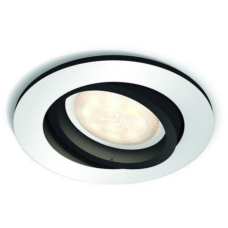 Philips Hue White Ambiance Milliskin Foco Empotrable Circular, 1 x 5.5W, Mando No Incluido, Iluminación Inteligente LED, Intensidad y Temperatura Regulable, Compatible con Apple Homekit y Google Home GU10, 230 W, Aluminio