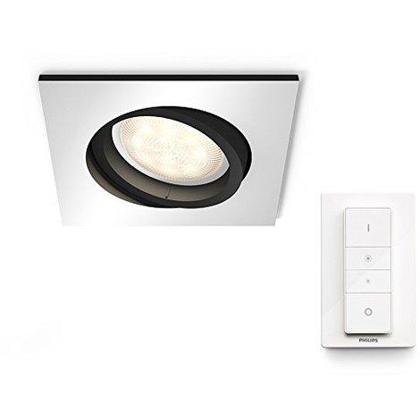 Philips Hue White Ambiance Milliskin Foco Empotrable Cuadrado, 1 x 5.5W, Mando Incluido, Iluminación Inteligente LED, Intensidad y Temperatura Regulable, Compatible con Apple Homekit y Google Home GU10, 230 W, Aluminio