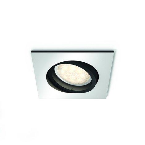 Philips Hue White Ambiance Milliskin Foco Empotrable Cuadrado, 1 x 5.5W, Mando No Incluido, Iluminación Inteligente LED, Intensidad y Temperatura Regulable, Compatible con Apple Homekit y Google Home GU10, 230 W, Aluminio