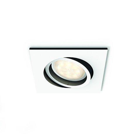 Philips Hue White Ambiance Milliskin Foco Empotrable Cuadrado, 1 x 5.5W, Mando No Incluido, Iluminación Inteligente LED, Intensidad y Temperatura Regulable, Compatible con Apple Homekit y Google Home GU10, 230 W, Blanco