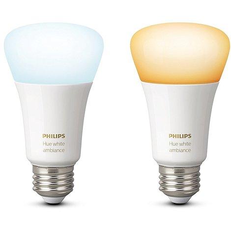 Philips Hue White Ambiance - Pack de 2 bombillas LED E27, 9.5 W, iluminación inteligente, tonos de luz blanca cálida y fría regulable, compatible con Apple Homekit y Google Home