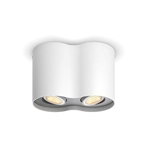 Philips Hue White Ambiance Pillar - Spot doble (2 x 5.5 W, GU10, mando incluido, iluminación inteligente - luz blanca natural LED, compatible con Apple Homekit y Google Home), blanco