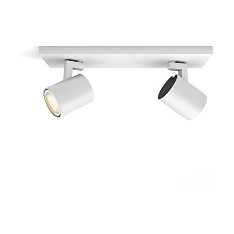 Philips Hue White Ambiance Runner - Spot doble (2 x 5.5 W, GU10, mando incluido, Smart LED - luz blanca natural LED, compatible con Apple Homekit y Google Home), blanco