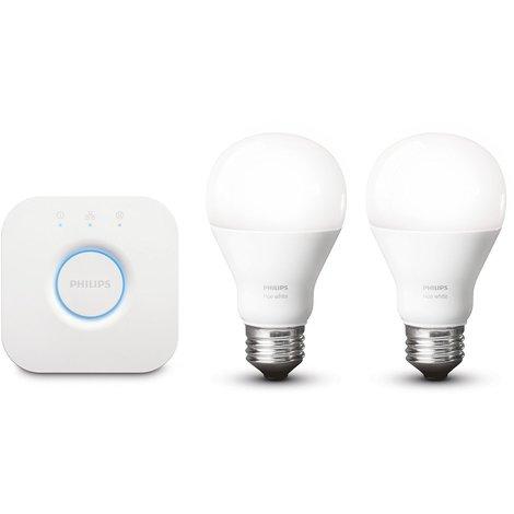 Philips Hue White - Kit de iluminación LED inteligente, iluminación blanco cálido, regulable 929001137004 - 9,5 W, A60, E27