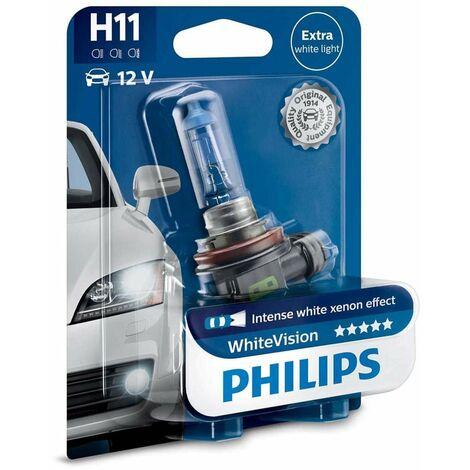Philips KFZ Scheinwerferlampe H11 White Vision Xenon Effekt 12362WHVB1 12V55W Sockel PGJ19-2 Artikel beinhaltet 1 Leuchtmittel