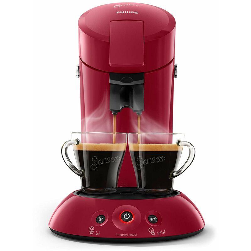 Senseo ® - Philips Machine à café Senseo New Original, Crema Plus, intensité du café Choix, noir rouge foncé
