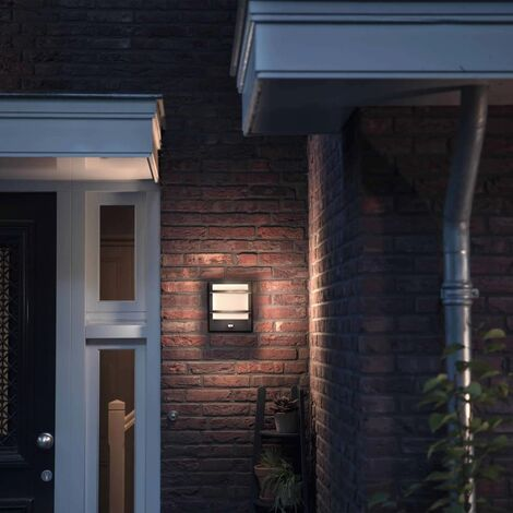 Philips myGarden Lámpara pared LED con sensor Petronia gris 1739593P0 - Gris
