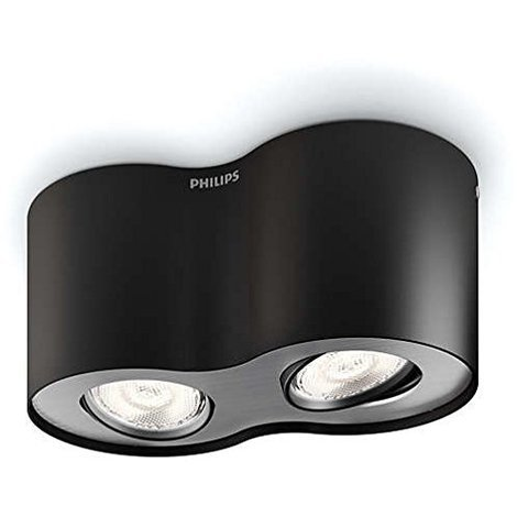 Philips myLiving Phase - Foco, LED, iluminación interior, 2 luces, cepillado, luz blanca cálida, IP20, color negro