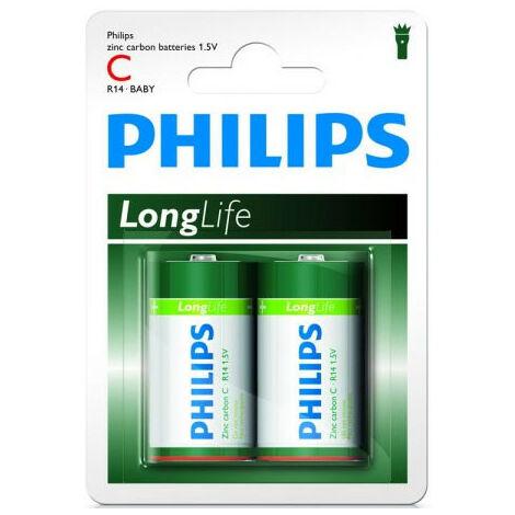 Philips Pile Zinc-Carbone C LongLife, 2 pièces (R14L2B/10)