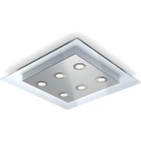 Philips Plafón LED Blanco integrado, luz blanca cálida, regulable, incluye 6 bombillas de 4. 5 W