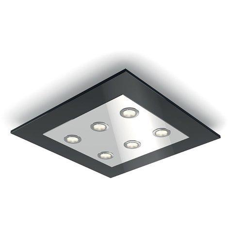 Philips Plafón LED integrado Negro, luz blanca cálida, regulable, incluye 6 bombillas de 4. 5 W