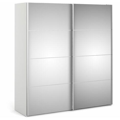 Phillipe Wardrobe White Mirror Doors Five Shelves