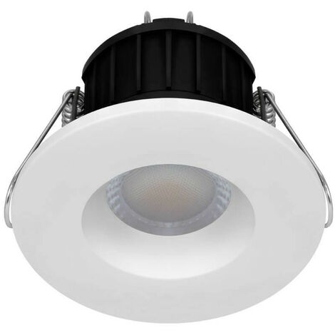 Phoebe LED Fire Rated Downlight 8.5W Dim Firesafe Tri-Colour CCT 60° White and Brushed Nickel IP65