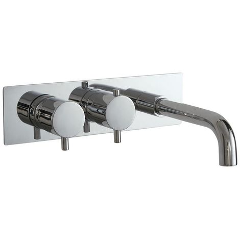Phoenix Concealed Thermostatic Twin Shower Valve With Bath Spout Round Handle