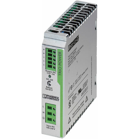 Phoenix Contact 2866475 TRIO-PS/1AC DIN Rail Power Supply 12V DC 5A 60W