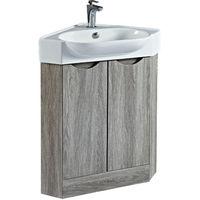Phoenix Dakota Corner Vanity Unit With Ceramic Basin 860mm H x 510mm W x 510mm D Avola