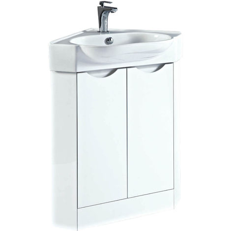 Phoenix Dakota Corner Vanity Unit With Ceramic Basin 860mm H x 510mm W x 510mm D White
