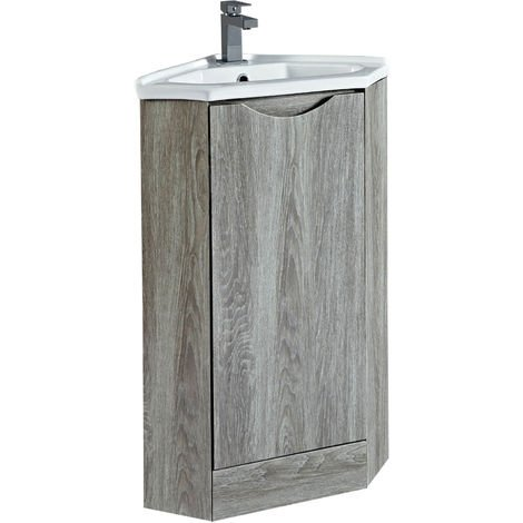 Phoenix Naples Corner Vanity Unit With Ceramic Basin 860mm H x 410mm W x 410mm D Avola