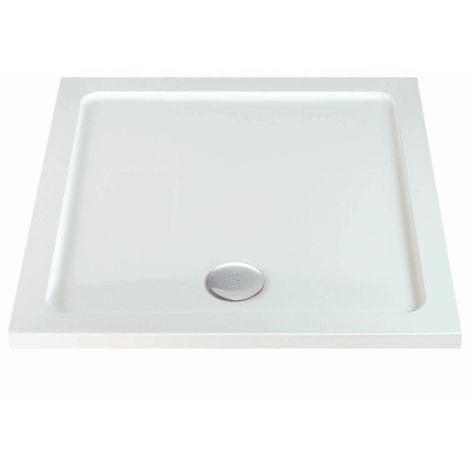 Phoenix Stone Resin Low Profile Square Shower Tray 1000mm W x 1000mm D White