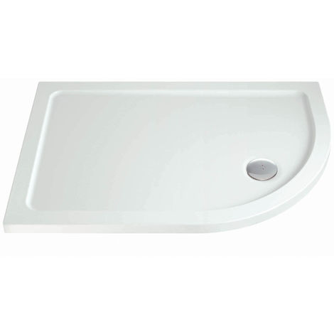 Phoenix Stone Resin Offset Quadrant Tray With Corner Waste 900mm W x 800mm D Right Hand White